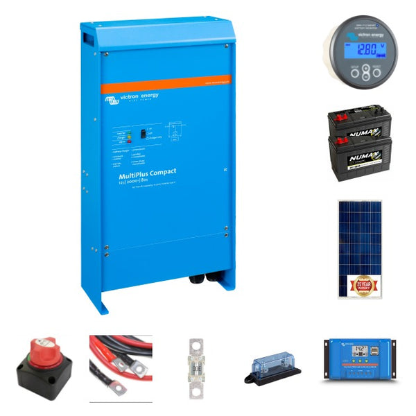 Complete off-grid kit 2 kVA Victron, 2X105 ah leisure battery 175 watt solar panels with Victron controller
