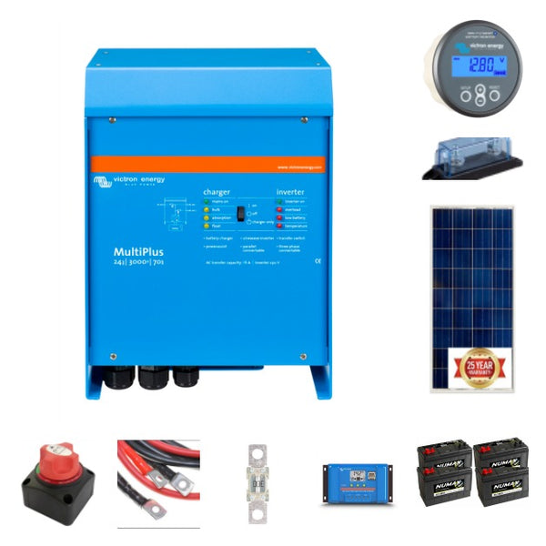 Complete off-grid kit 3 kVA Victron, 4X105 ah leisure battery 175 watt solar panels with Victron controller