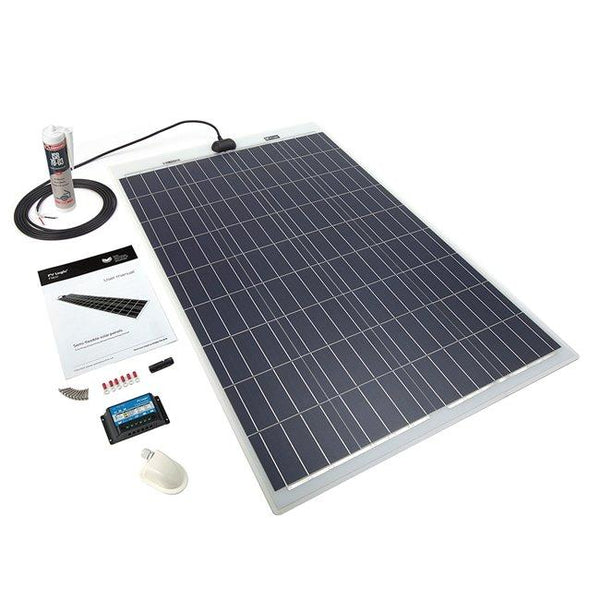 100 Watt Flexible Solar Panel, With Roof Kit. Ideal for Motorhomes, Caravans and Boats