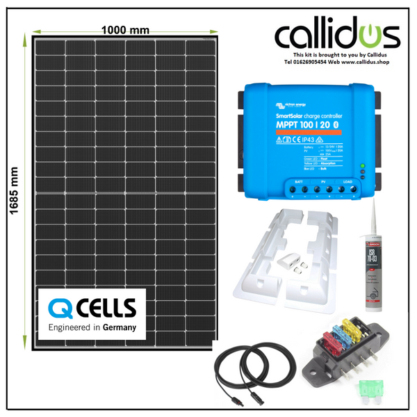 Qcell 320 watt panel & Smart MPPT, Cable, Mounting & Gland kit 6