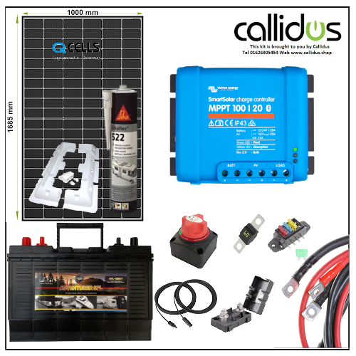 Qcell 320 watt panel, Leoch 120 Ah Leisure battery & Smart MPPT, Cable, Mounting & Gland kit 4