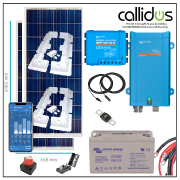 350 watt panel, 100/20 smart MPPT, Inverter/charger, Cable, Mounting, cable Gland & 110 Ah AGM battery. Kit 51