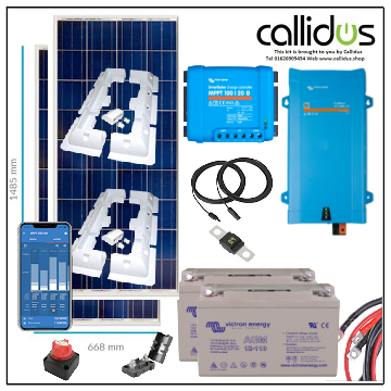 350 watt panel, 100/20 smart MPPT, Inverter/charger, Cable, Mounting, cable Gland & 220 Ah AGM battery. Kit 53