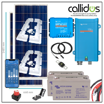 350 watt panel, 100/20 smart MPPT, Inverter/charger, Cable, Mounting, cable Gland & 220 Ah AGM battery. Kit 52