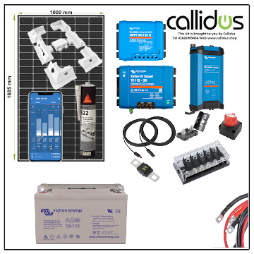 320 watt Mono Qcells Panel, 100/20 Smart MPPT, Smart BMV, Smart DC/DC Charger Cable, 110Ah of AGM, Solar Mounting, Isolators, Fused busbar, Cable Gland. Kit 58