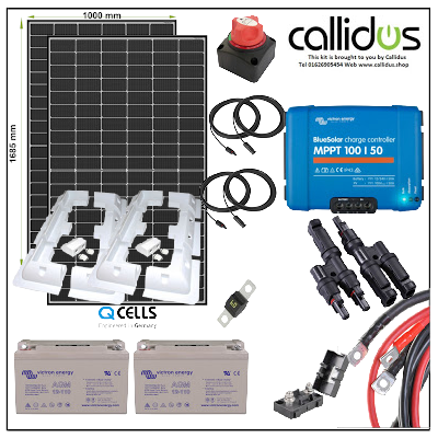 Qcell 640 watt panel, 220 Ah AGM battery & Smart MPPT, Cable, Mounting & Gland kit 3