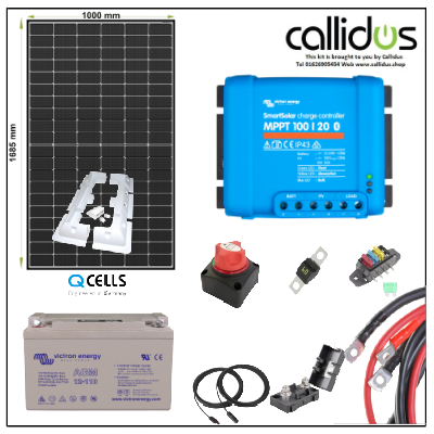 Qcell 320 watt panel, 110 Ah AGM battery & Smart MPPT, Cable, Mounting & Gland Kit 1