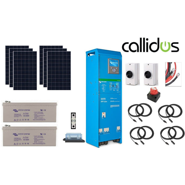 Complete kit 3kva Off-Grid kit with 2-2.8 & 4.8 kW of Solar panels and 2x 230 Ah AGM Batteries and Electrical Wiring kit
