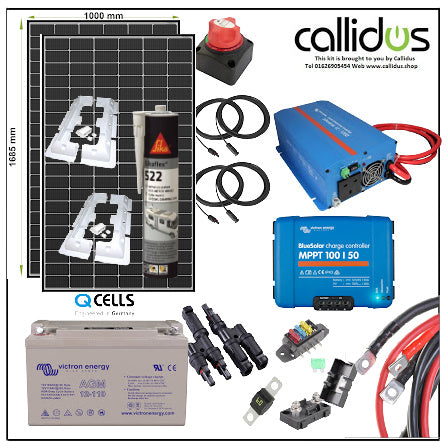 Qcell 640 Watt of Solar panels and Victron 1kw of inverter, Cable, Mounting & Gland & 110 Ah AGM battery& Smart MPPT kit 45
