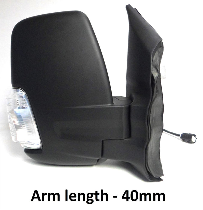 Ford Transit Mk8 3/14+ Short Arm Wing Mirror Manual Indicator 5w Black Drivers