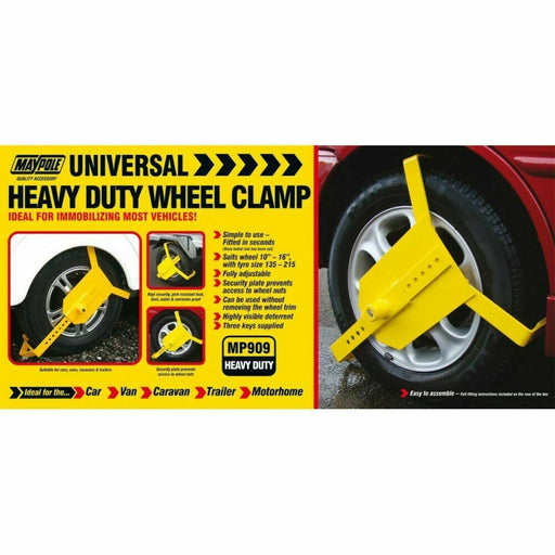 "Universal Fit Heavy Duty Wheel Clamp Fits 10-16"" Trailer Caravan MP909"