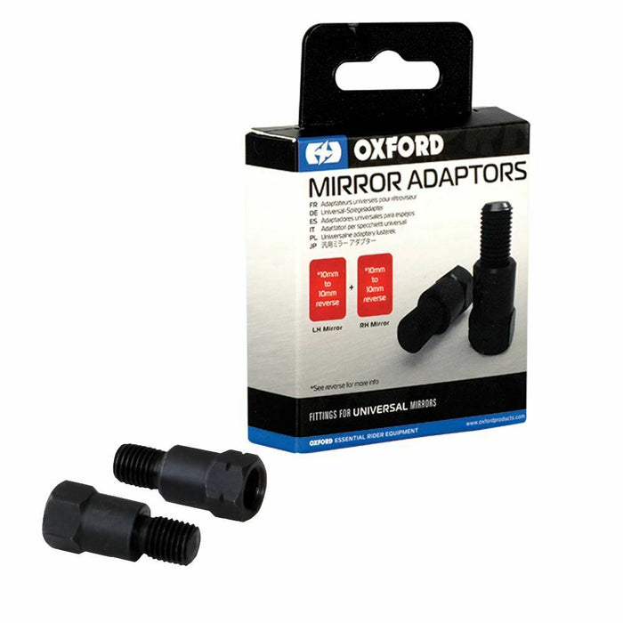 Universal Fit Oxford Universal Fit Motorcycle Mirror 2 Adaptors 10mm to 10mm Reverse Thread OX581