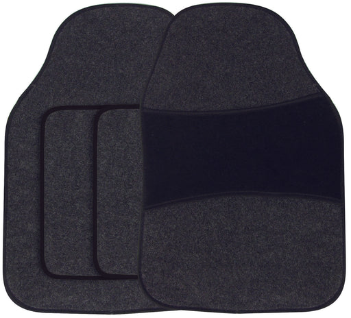 Universal Fit 4 Piece Anti Slip Black Heel Milano Velour Car Mat Set SWBCMTT
