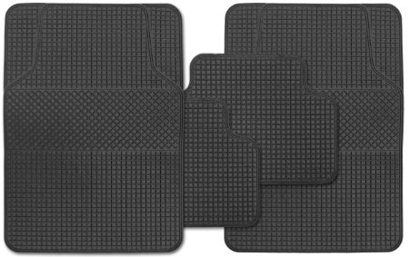 Universal Fit 4 Piece Anti Slip Black Rubber Serenade Rubber Car Mat Set SWCM100
