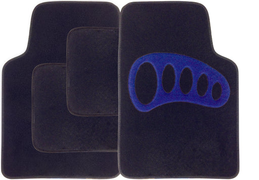 Universal Fit 4 Piece Anti Slip Black Blue Heel Blaze Velour Car Mat Set SWCM106