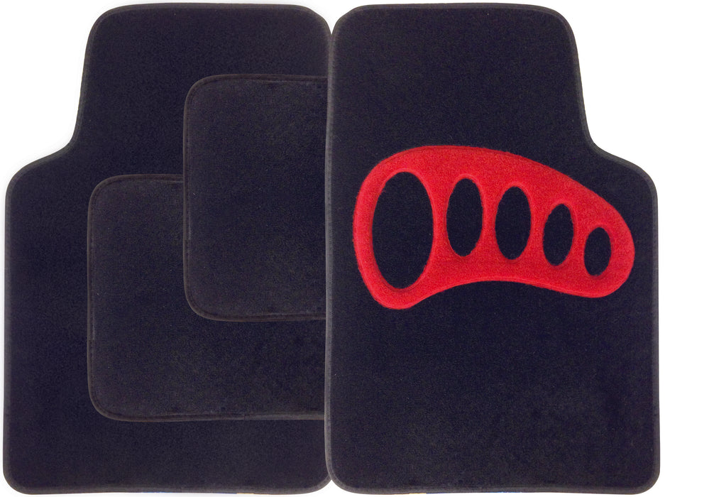 Universal Fit 4 Piece Anti Slip Black Red Heel Rosso Velour Car Mat Set SWCM107