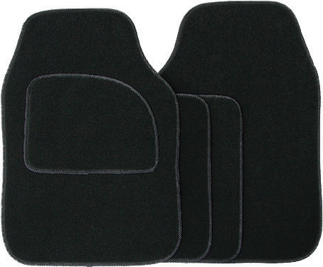 Universal Black 4 Piece Car Mat Set Anti Slip Cargo Velour SWCM29