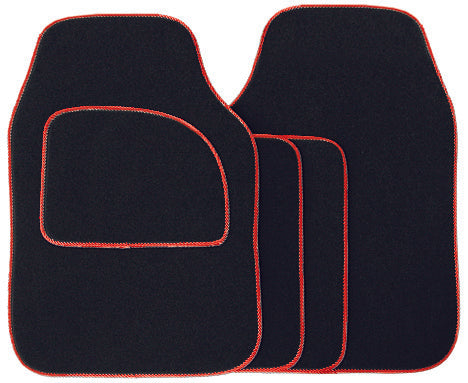 Universal Fit 4 Piece Anti Slip Black & Red Boost Velour Car Mat Set SWCM30