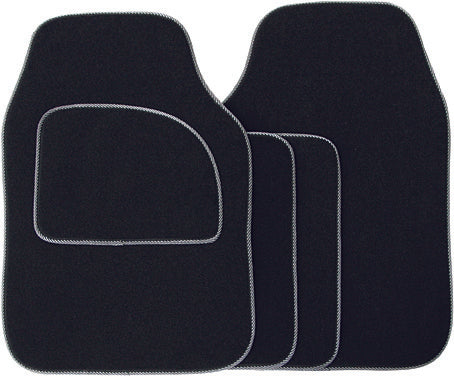 Universal Fit 4 Piece Anti Slip Black & Grey Endurance Velour Car Mat Set SWCM31