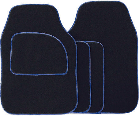 Universal Fit 4 Piece Anti Slip Black & Blue Element Velour Car Mat Set SWCM32