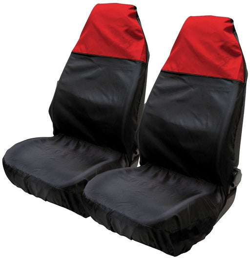 Universal Fit Car Front Seat Protectors Water Resistant Cover Red Black Pair SWSC50