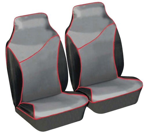 Universal Fit Front Seat Protectors Heavy Duty Waterproof Cover Grey Red Pair SWSC64