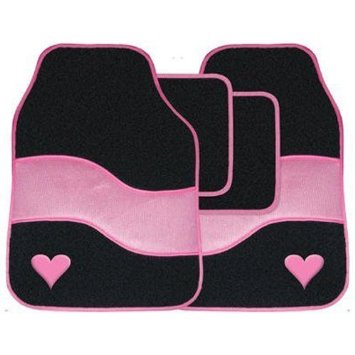 Universal Fit 4 Piece Anti Slip Black Pink Heart Velour Car Mat Set SWTP10
