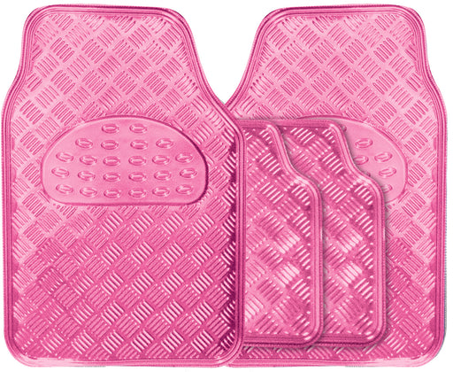 Universal Fit 4 Piece Anti Slip Pink Checker Plate Car Mat Set SWTP6