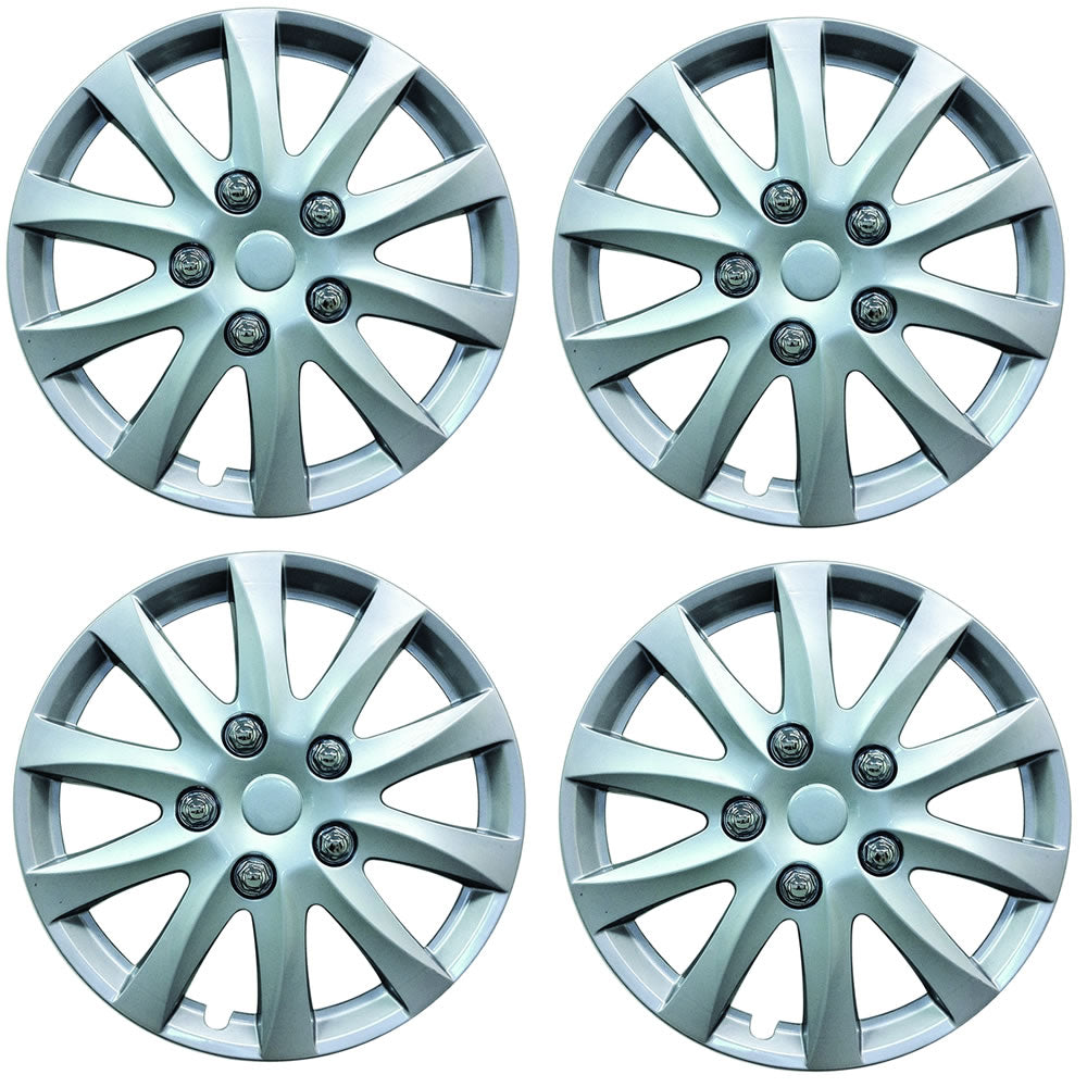 "Universal 16 Inch Silver Car Wheel Trims Hub Caps Plastic Covers Phoenix 16"" SWUX103"