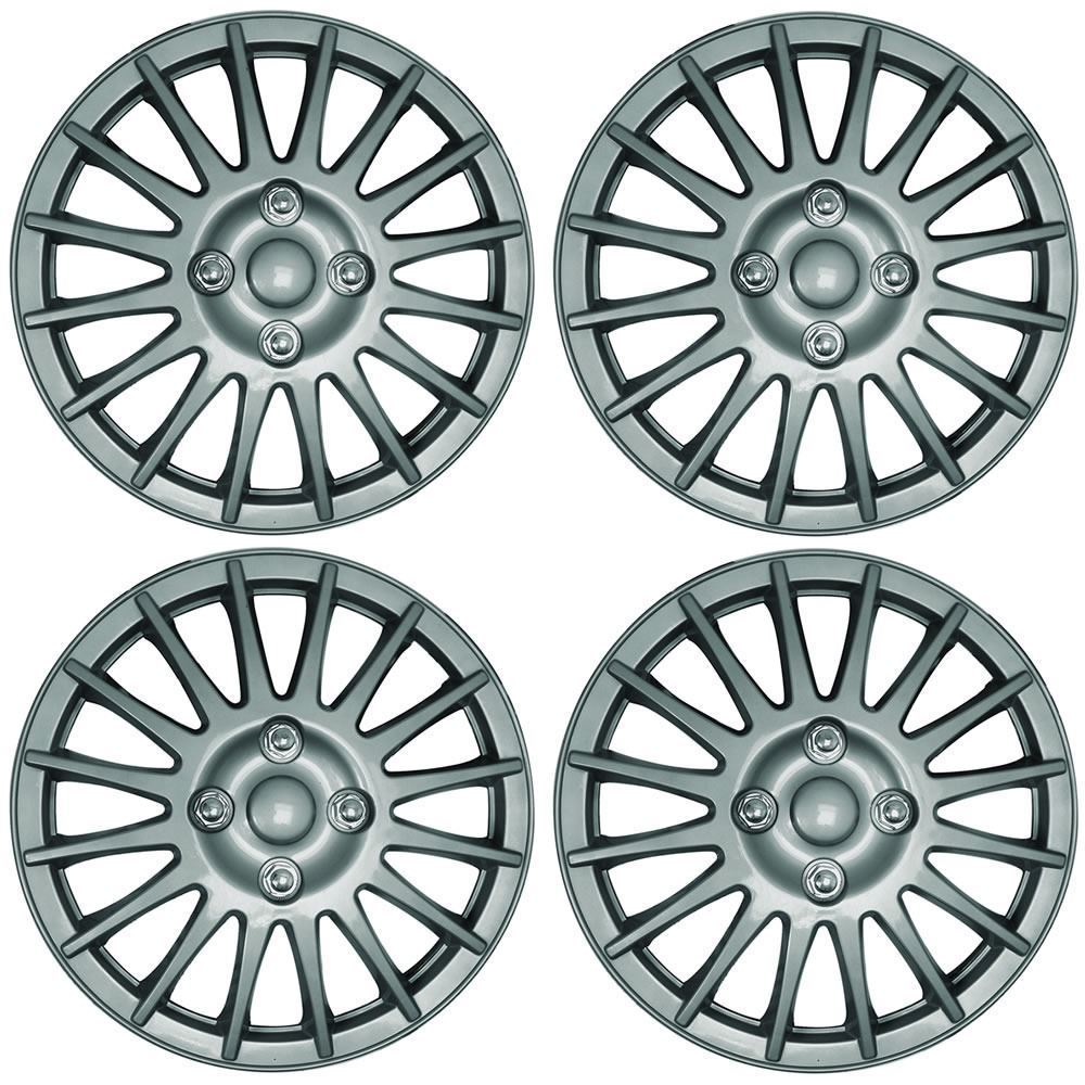 "Universal 15"" Lightning Car Wheel Trims Hub Caps Plastic Covers Silver SWUX45"
