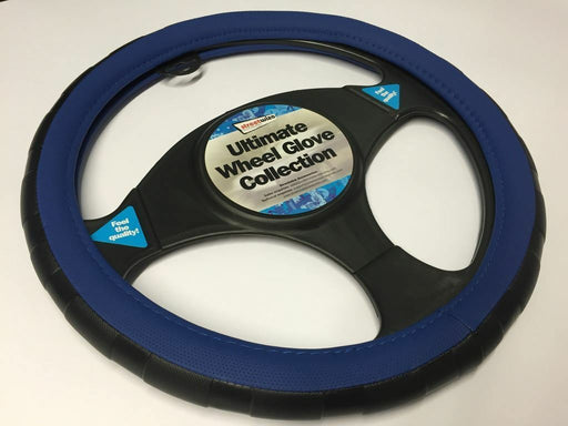 Universal Black & Blue Sports Grip Steering Wheel Cover Glove 37cm SWWG5