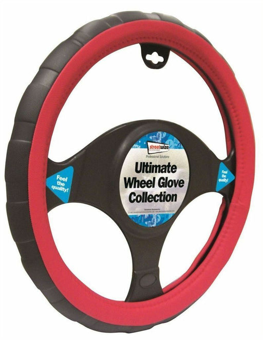 Universal Fit Black & Red Sports Grip Steering Wheel Cover Glove 37cm SWWG6