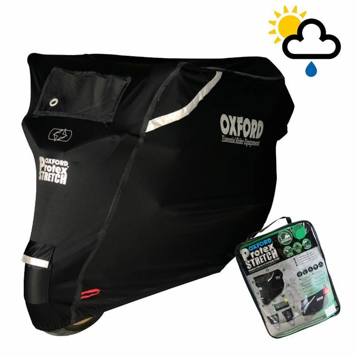 Universal Fit Oxford Protex Stretch Waterproof Motorcycle Bike Cover Black All Weather CV163