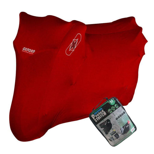 Universal Fit Oxford Protex Stretch Motorcycle Breathable Dust Cover Motorbike Red CV176
