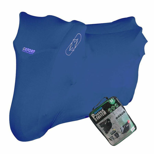 Universal Fit Oxford Protex Stretch Motorcycle Breathable Dust Cover Motorbike Blue CV180