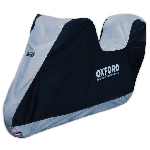 Universal Fit Oxford Motorcycle With Top Box Cover Waterproof White Black Aquatex CV207