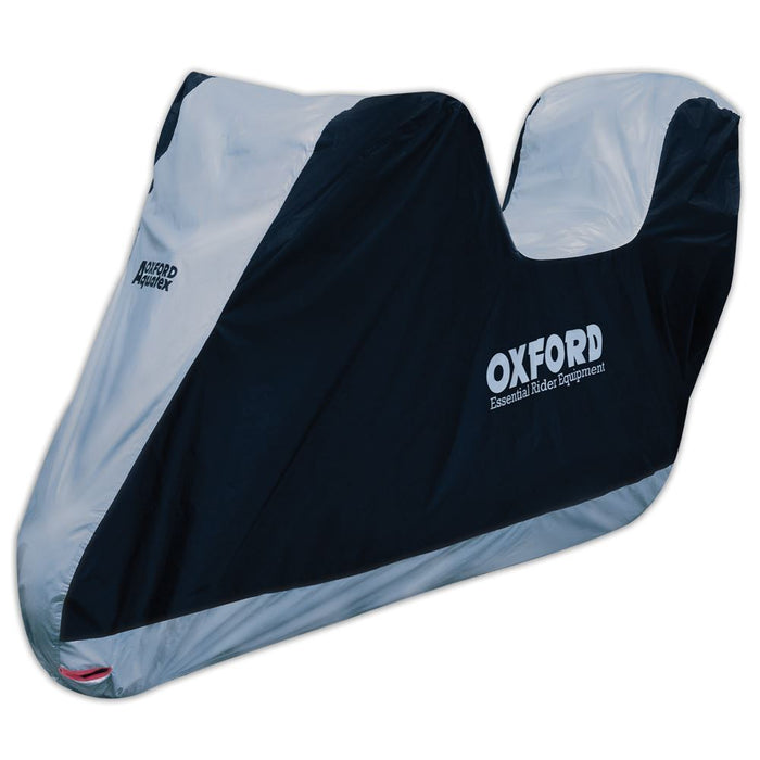 Universal Fit Oxford Motorcycle With Top Box Cover Waterproof White Black Aquatex CV205