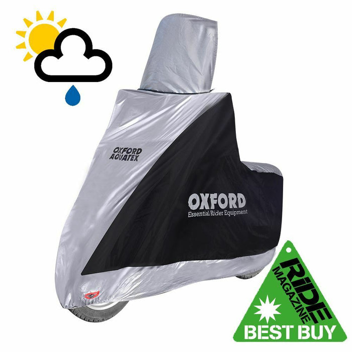 Universal Fit Oxford Aquatex Waterproof High Screen Motorcycle Cover Silver Black CV216
