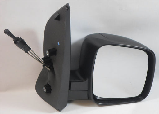 Fiat Qubo 2008+ Manual Cable Wing Door Mirror Black Textured Drivers Side O/S