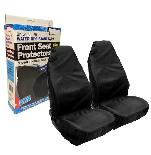 Universal Fit Front Seat Protector Covers Heavy Duty Waterproof Cover Black Pair HDFBKSC