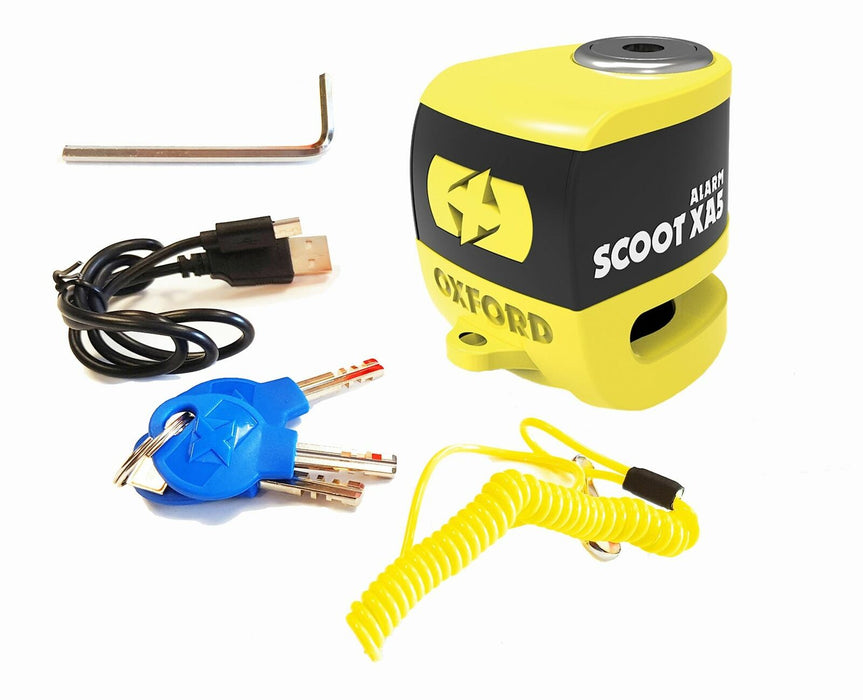 Universal Oxford SCOOT XA5 Alarm Disc Lock Security Motorcycle Yellow LK287