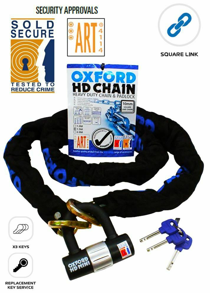 Universal Oxford Motorcycle HD 1.0M Chain & Padlock Disc Lock OF157