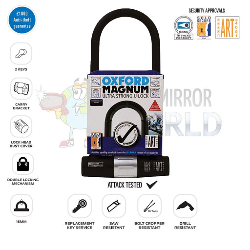 Universal Oxford Magnum Ultra Strong U-Lock 315mm Security Motorbike OF173
