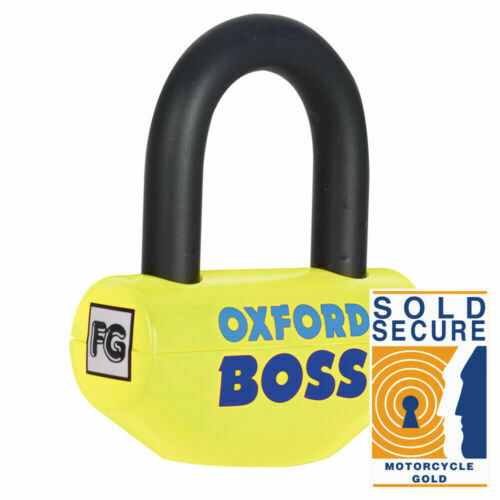 Universal Oxford Boss Super Strong Steel Motorcycle Motorbike Disc Lock Yellow 12.7mm OF39