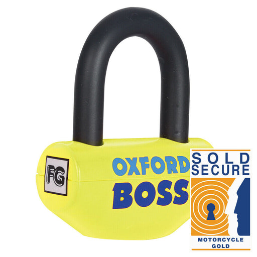 Universal Oxford Boss Motorcycle Motorbike Thatcham Approved Disc Lock 14mm Yellow OF44