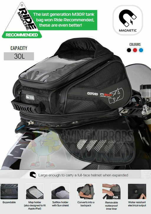 Universal Oxford M30R Magnetic Luggage Tank Bag 30L Sat Nav Black OL245