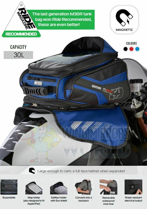 Universal Oxford M30R Magnetic Luggage Tank Bag 30L Sat Nav Blue OL247