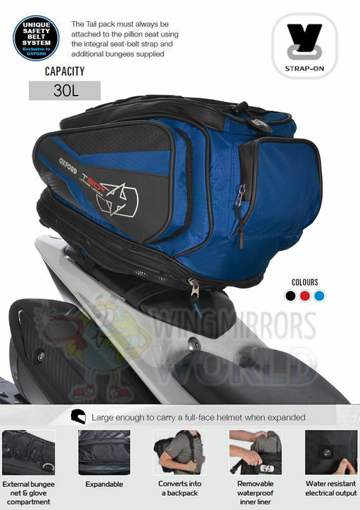 Universal Oxford T30R 30L Pillion Seat Tail Pack Bag Luggage Motorcycle Blue OL337