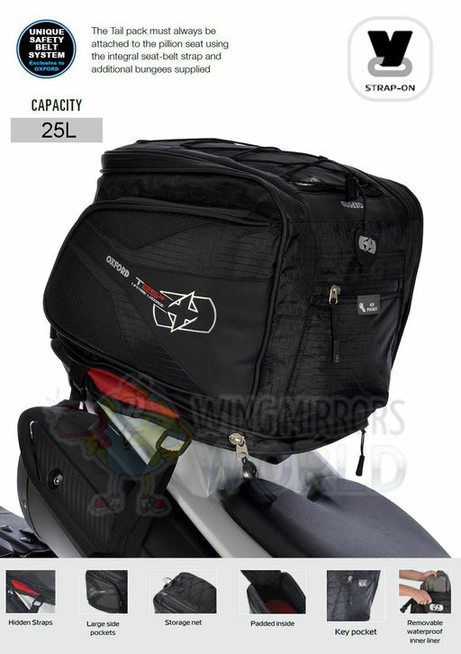 Universal Oxford T25R 25L Pillion Seat Tail Pack Luggage Motorcycle Black OL338