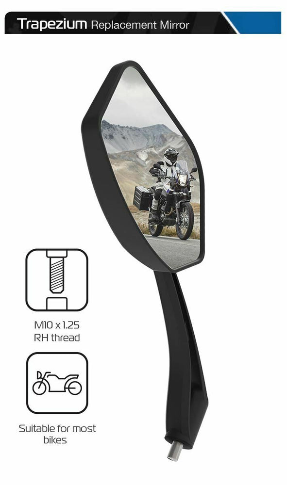 Universal Oxford Trapezium Motorcycle Rearview Mirror Glass Left Side 10mm OX152